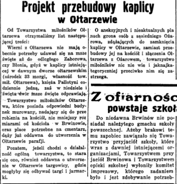 Nowiny Codzienne 1933 – list TMO